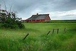 Idaho, North Central, Grangeville. A red barn scene in spring.