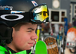 NEW HARTFORD,  CT-122616JS03-- Skiers are reflected in the goggles of Kyle Dale, 15, of Middletown as he waits at the bottom of the hill for his friends while skiing Monday at Ski Sundown in New Hartford. The hills opened for the season this past Friday. <br />   Jim Shannon Republican American