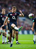 Owen Farrell of England kicks for touch. Old Mutual Wealth Series International match between England and Fiji on November 19, 2016 at Twickenham Stadium in London, England. Photo by: Patrick Khachfe / Onside Images