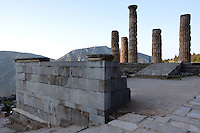 DELPHI, GREECE - APRIL 11 : A general view of the East side of the Temple of Apollo with the ramp of ascent to the temple in the centre and the Altar of the Chians in the foreground, on April 11, 2007 in the Sanctuary of Apollo, Delphi, Greece. The ruins of the Temple of Apollo belong to the 4th century BC, the third temple built on the site and completed in 330BC. Its architects were the Corinthians Spintharos Xenodoros and Agathon. (Photo by Manuel Cohen)