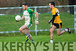 Ballydonoghue's Brian Seanachain gets away from Listowel Emmet's John Heaphy in the semi final of the Bernard O'Callaghan Memorial Senior Football 2016 Championship sponsored by McMunns, ballybunion played in Con Brosnan Park, Moyvane on Sunday last.