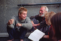 Saint Petersburg, Russia, August 2002..Students &amp; homeless in a Nevsky Prospect underpass. Fyodor Dostoyevsky,  chronicler of Russia's under class, would still recognise much in his native city. The streets he knew still teem with thieves, drunks, homeless &amp; those on the fringes of society..