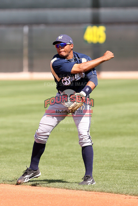 Eric Farris, Milwaukee Brewers 2010 minor league spring training..Photo by:  Bill Mitchell/Four Seam Images.
