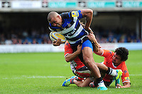 Jonathan Joseph of Bath Rugby takes on the Newcastle Falcons defence. Aviva Premiership match, between Bath Rugby and Newcastle Falcons on September 10, 2016 at the Recreation Ground in Bath, England. Photo by: Patrick Khachfe / Onside Images