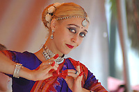 "Krsangi Davis, 31, performs a classical Indian Dance ""Vasanta"" at during  the 28 th Annual  Festival of Chariots in Venice on Sunday Aug.1, 2004."