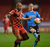 Fleetwood Town's Ashley Hunter battles with Walsall's Adam Chambers<br /> <br /> Photographer Dave Howarth/CameraSport<br /> <br /> The EFL Sky Bet League One - Walsall v Fleetwood Town - Tuesday 14th March 2017 - Banks's Stadium - Walsall<br /> <br /> World Copyright &copy; 2017 CameraSport. All rights reserved. 43 Linden Ave. Countesthorpe. Leicester. England. LE8 5PG - Tel: +44 (0) 116 277 4147 - admin@camerasport.com - www.camerasport.com