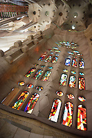 Glasswork of the central nave, La Sagrada Familia, Roman Catholic basilica, Barcelona, Catalonia, Spain, built by Antoni Gaudí (Reus 1852 ? Barcelona 1926) from 1883 to his death. Still incomplete. Picture by Manuel Cohen