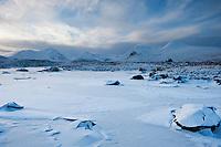 Frozen landscape of Rannoch Moor in winter, Scotland