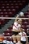 18 AUG 2007: Katie Culbertson practices her spike during pre-game warm-ups. The Illinois State Redbirds, picked for 5th in the pre-season Missouri Valley Conference coaches poll, prepare for the beginning of the season during the annual Red/White inter-squad scrimmage at Redbird Arena in Normal Illinois.