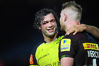 Dom Barrow of Leicester Tigers has a word with George Merrick of Harlequins after the match. Aviva Premiership match, between Harlequins and Leicester Tigers on February 24, 2017 at the Twickenham Stoop in London, England. Photo by: Patrick Khachfe / JMP