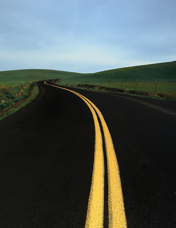 A dark road with bright yellow lines curves among the hills of the Palouse in Eastern Washington State.