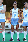 17 October 2014: North Carolina's Emily Wold. The Duke University Blue Devils hosted the University of North Carolina Tar Heels at Jack Katz Stadium in Durham, North Carolina in a 2014 NCAA Division I Field Hockey match. UNC won the game 1-0.