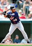 6 September 2009: Minnesota Twins' center fielder Carlos Gomez in action against the Cleveland Indians at Progressive Field in Cleveland, Ohio. The Indians defeated the Twins 3-1 to take the rubber match of their three-game weekend series. Mandatory Credit: Ed Wolfstein Photo