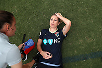 Cary, North Carolina  - Sunday May 21, 2017: McCall Zerboni relaxes on the field after a regular season National Women's Soccer League (NWSL) match between the North Carolina Courage and the Chicago Red Stars at Sahlen's Stadium at WakeMed Soccer Park. Chicago won the game 3-1.