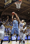 06 February 2012: North Carolina's Chay Shegog (20) is fouled by Duke's Kathleen Scheer (24). The Duke University Blue Devils defeated the University of North Carolina Tar Heels 96-56 at Cameron Indoor Stadium in Durham, North Carolina in an NCAA Division I Women's basketball game.