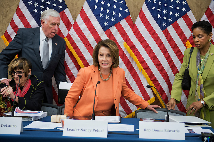"UNITED STATES - APRIL 14: From left, Rep. Rosa DeLauro, D-Conn.,  House Minority Whip Steny Hoyer, D-Md., House Minority Leader Nancy Pelosi, D-Calif., and Rep. Donna Edwards, D-Md., attend a House Democratic Steering and Policy Committee hearing in the Capitol Visitor Center titled ""The Failure of Trickle Down Economics in the War on Poverty,"" April 14, 2016. (Photo By Tom Williams/CQ Roll Call)"