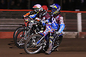 Heat 4: Daniel Davidsson (blue), Adam Shields (red) and Tai Woffinden (white) - Lakeside Hammers vs Wolverhampton Wolves, Elite Shield Speedway at the Arena Essex Raceway, Purfleet - 26/03/10 - MANDATORY CREDIT: Rob Newell/TGSPHOTO - Self billing applies where appropriate - 0845 094 6026 - contact@tgsphoto.co.uk - NO UNPAID USE.