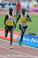 The finishing line is so close for these two 3000m Mens Steeplechase runners at the Sainsbury Anniversary Games, Olympic Stadium, London England, Saturday 27th July 2013-Copyright owned by Jeff Thomas Photography-www.jaypics.photoshelter.com-07837 386244. No pictures must be copied or downloaded without the authorisation of the copyright owner.