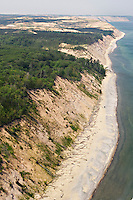 Aerial view of Grand Sable Banks and dunes looking west with Lake Superior near Grand Marais Michigan in Pictured Rocks National Lakeshore.