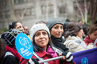 Thousands participate in the March for Gender Equality and Women's Rights on International Women's Day in New York on Sunday, March 8, 2015. The march, co-hosted by the U.N. and NYC with NGO organizations, traveled from the United Nations to Times Square and called for gender equality across multiple platforms including pay, the glass ceiling and political representation. (© Richard B. Levine)