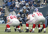 27 Nov 2005:  Seattle Seahawks linebacker Lofa Tatupu lines up at the line of scrimmage against the  New York Giants  at Qwest Field in Seattle, Washington.