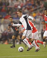 New England Revolution midfielder Chris Tierney (8) at midfield. SL Benfica  defeated New England Revolution, 4-0, at Gillette Stadium on May 19, 2010.