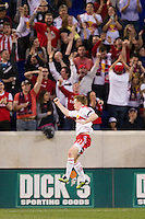 Dax McCarty (11) of the New York Red Bulls celebrates scoring during the first half against the San Jose Earthquakes during a Major League Soccer (MLS) match at Red Bull Arena in Harrison, NJ, on April 14, 2012.