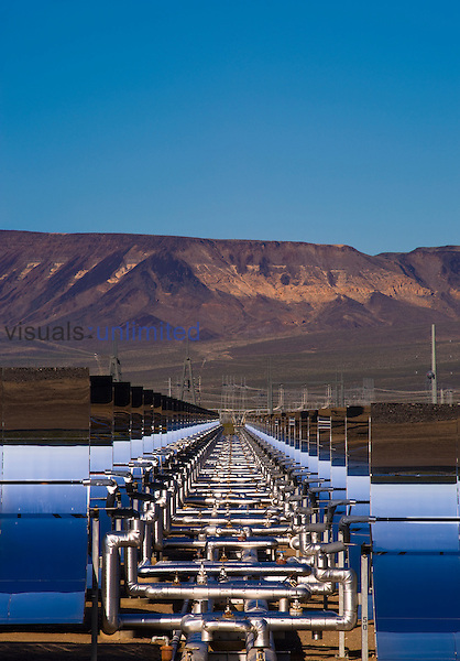 Oil pipes and parabolic mirrors at the Solar One Electric Generating Station, Nevada, USA
