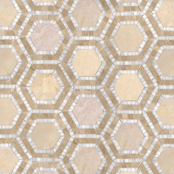 Name: Honeycomb<br /> Style: Classic<br /> Product Number: CB0407B<br /> Description: Honeycomb in Creme Brulee (h), Calacatta Tia, Breccia Oniciata (p)
