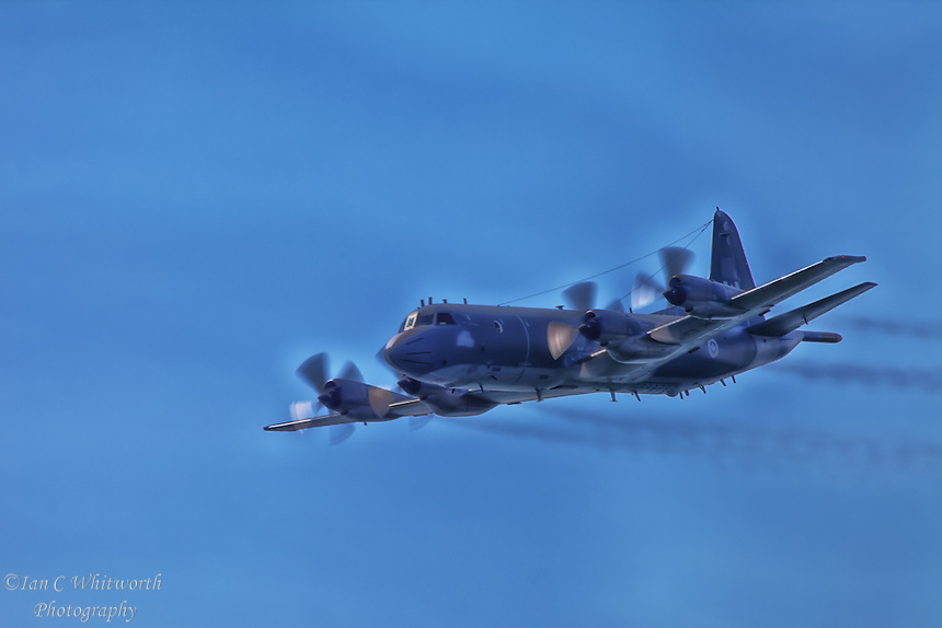 A photo art style image of the CP-140 Aurora Maritime Patrol aircraft at the Canadian International Air Show in Toronto