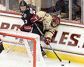 Josh Manson (NU - 3), Johnny Gaudreau (BC - 13) - The Boston College Eagles defeated the visiting Northeastern University Huskies 3-0 after a banner-raising ceremony for BC's 2012 national championship on Saturday, October 20, 2012, at Kelley Rink in Conte Forum in Chestnut Hill, Massachusetts.