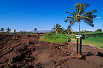 Sign marking the Kings Trail and ancient Hawaiian petroglyphs, Waikoloa, The Big Island, Hawaii USA