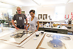 Artist in Residence Samatha Wall working on her artwork with master printer Frank Janzen at Crow's Shadow in Pendleton, Oregon