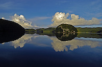 The Palau Rock Islands on a perfect day, superb reflection in the afternoon, Palau, Micronesia