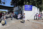 Palestinian students return to UNRWA-run schools, after postponement the school year in Gaza strip due to the reduction of educational programs given by the United Nations Relief and Works Agency (UNRWA) and the growing number of students per class, in Gaza city, on August 31, 2015. Photo by Mohammed Asad
