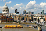 St Pauls Catherdral London skyline working River Thames Millennium Bridge,  UK