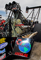 Mar 29, 2014; Las Vegas, NV, USA; Detailed view of oil on the engine of the car of NHRA top fuel driver Scott Palmer during qualifying for the Summitracing.com Nationals at The Strip at Las Vegas Motor Speedway. Mandatory Credit: Mark J. Rebilas-USA TODAY Sports