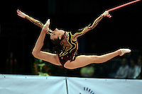 Anna Bessonova of Ukraine split leaps with rope at 2008 Portimao World Cup of Rhythmic Gymnastics on April 20, 2008.  Photo by Tom Theobald.
