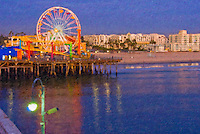 Santa Monica, CA, Pacific Park Pier, Sunset, Oil Painting Texture, Ferris Wheel, Roller Coaster, Loews Hotel