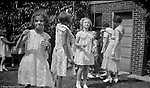Wilkinsburg PA:  View of Sally Stewart's 7th birthday party in the backyard of the Stewart's Wilkinsburg home - 1931. Eat the Marshmallow birthday game was made famous by the girl scouts during this time.