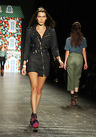 NEW YORK, NY-September 14: Bella Hadid walk the runway rehearsal for  Anna Sui Fashion Show-2016 New York Fashion Week at the Arts Skylight of Moynihan Station in New York. September 14, 2016. Credit:RW/MediaPunch