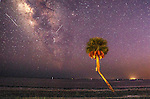 The Perseid Meteor Shower over Shell Point Beach in Wakulla County, Florida along the Forgotten Coast of the Florida panhandle.