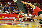 11 September 2007:  Laura Kastein dives in an attempt to make a save. Ohio State Buckeyes bested the Illinois State Redbirds 3 games to 1 at Redbird Arena on the campus of Illinois State University in Normal Illinois.