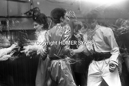 Blitz Kids New Romantics at The Blitz Club Covent Garden, London, England 1980. Julia Fodor (Princess Julia) and a couple of &quot;Space Cadets&quot; dancing the night away. <br />