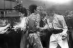 """Blitz Kids New Romantics at The Blitz Club Covent Garden, London, England 1980. Julia Fodor (Princess Julia) and a couple of """"Space Cadets"""" dancing the night away. Stephen Jones the milliner is centre back view."""
