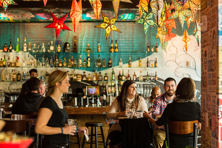 Raleigh, North Carolina - Sunday November 8, 2015 - Charlotte Daniel, Wallace Daniel and Lynne Daniel, all of Raleigh, NC, have brunch in the new Ganza Tacos y Tequila restaurant in the Aloft Raleigh Hotel.