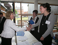 ***NO FEE PIC ***<br /> 11/06/2014<br /> (L to R) Minister for housing Jan O' Sullivan TD greets MLRC's Denise Fitzgerald &amp; Ellen Reid during The Mercy Law Resource Centre's Annual Report for 2013 at Sophia Housing on Cork Street, Dublin.<br /> Photo:  Gareth Chaney Collins
