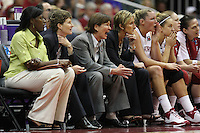 SAN ANTONIO, TX - APRIL 4: Coaches Bobbie Kelsey, Amy Tucker, Tara VanDerveer and Kate Paye during Stanford's 73-66 win over Oklahoma in the Final Four semi-finals at the Alamo Dome on April 4, 2010 in San Antonio, Texas.
