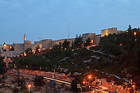 Pre-dawn view of a section of the exterior wall of the Old City of Jerusalem between the Jaffa Gate and Mount Zion.
