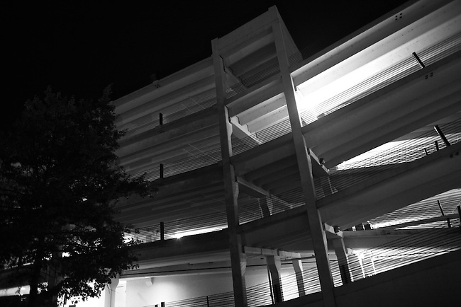 A parking garage is illuminated at night in downtown Macon, Ga. Aug. 29, 2010.